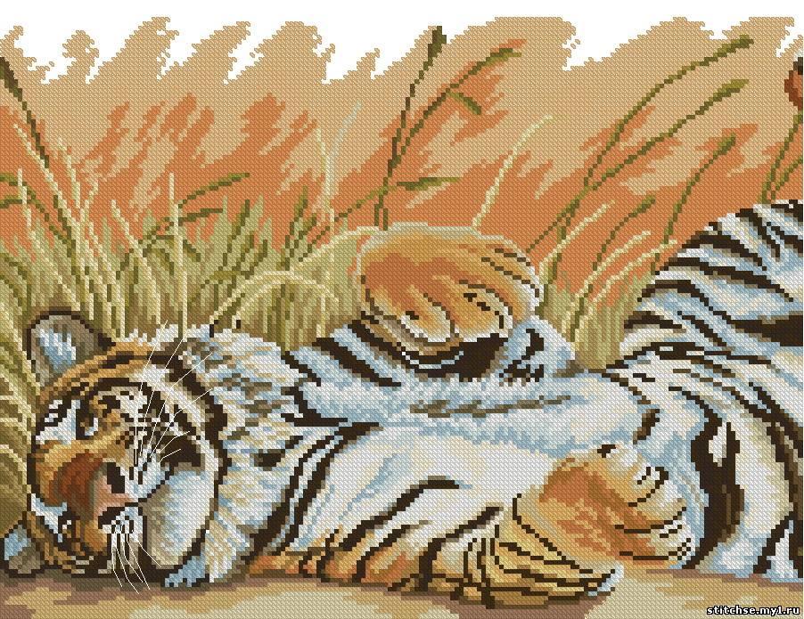 """Схема вышивки крестом - """"Тигр"""""""