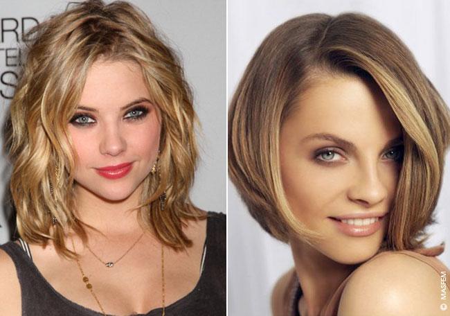 прически для средних волос фото для широкого лица
