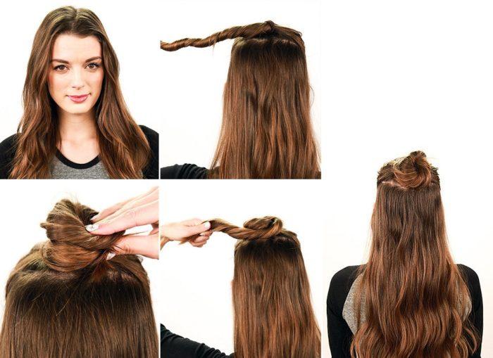 пучок с распущенными волосами, фото
