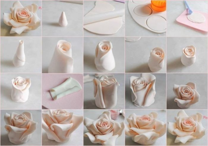 лепим розу из соленого теста, фото