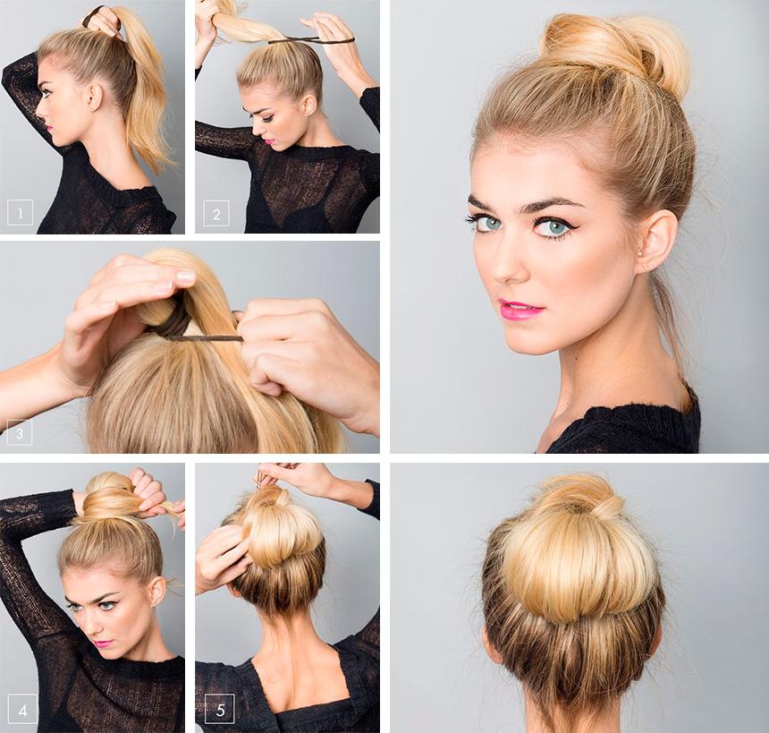 Как сделать пучок на средние волосы с помощью резинки